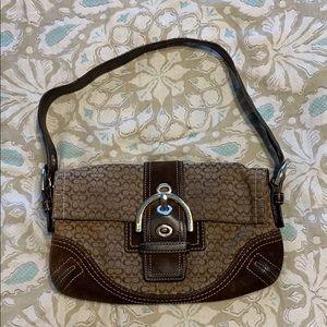 Coach Mini SoHo Baguette Khaki Shoulder Bag